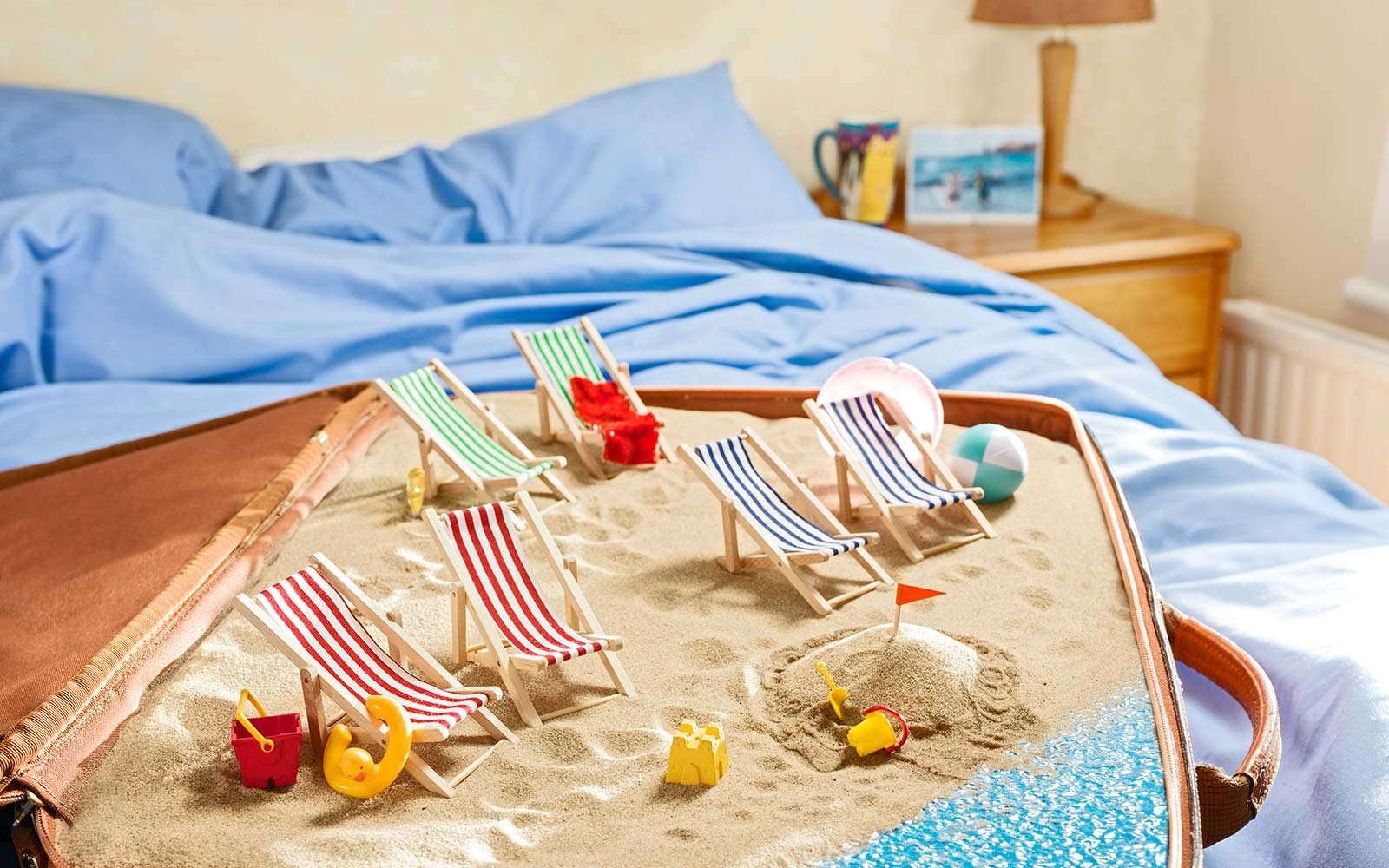 beach, beach ball, beach towels, suitcase, deck chairs, holidays, island, sand castles, sea, suitcase, Summer, Vacations