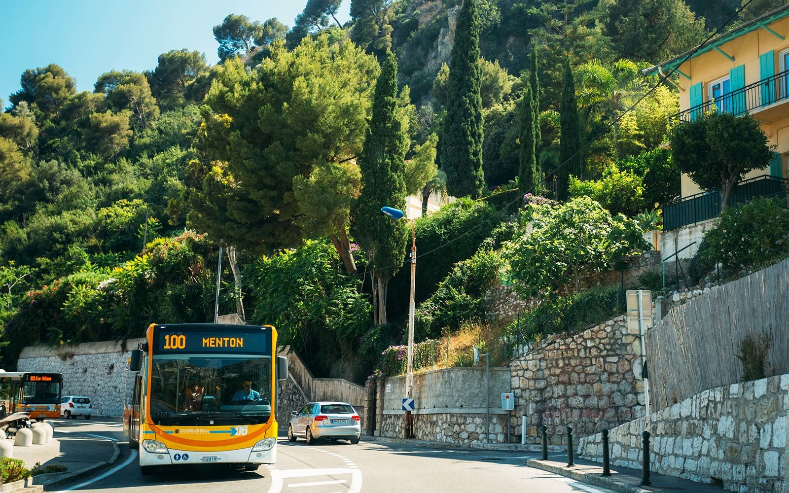 Eze France Menton public bus drivers wear skirts in summer heat