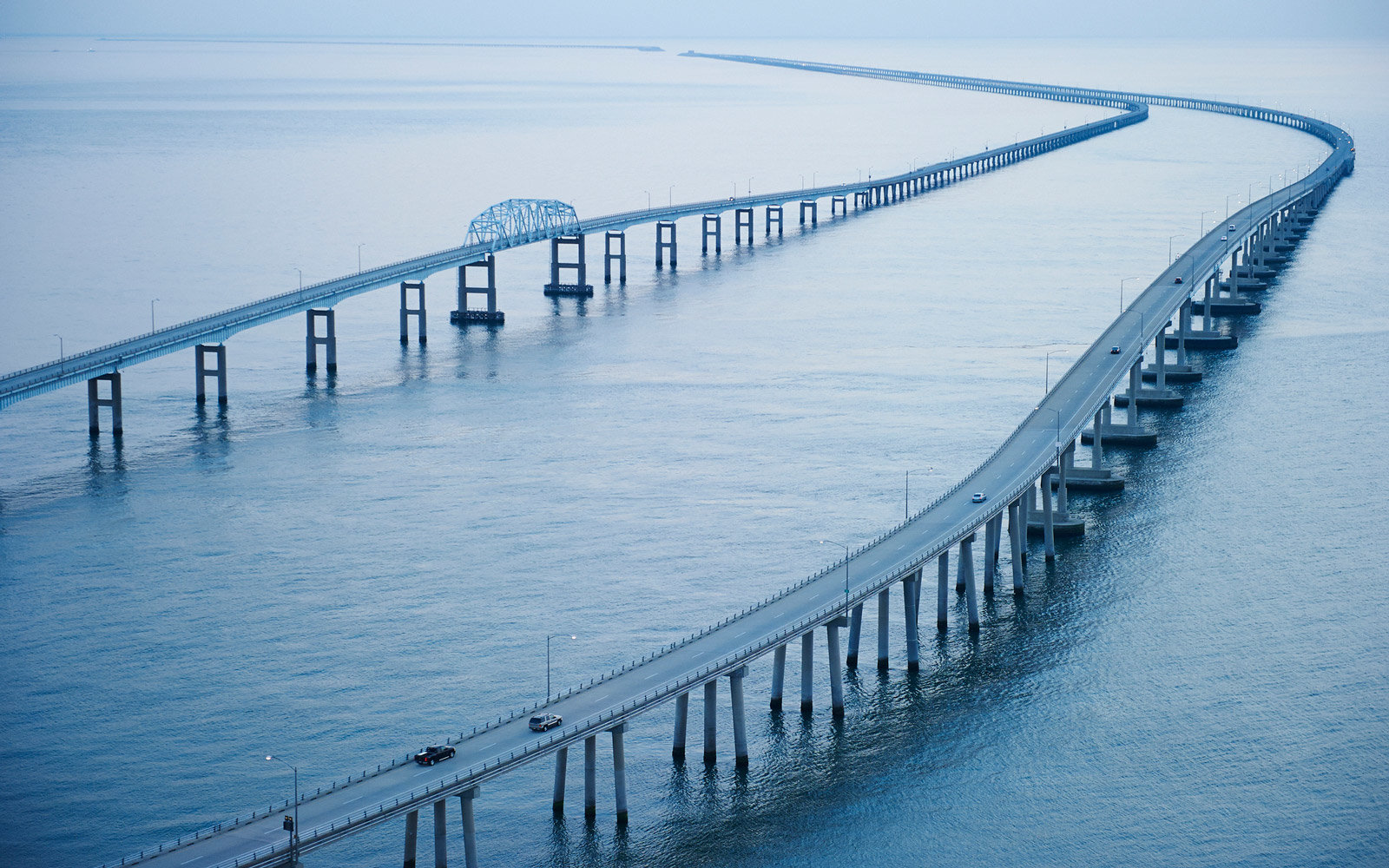 Aerial of the Chesapeake Bay Bridge Tunnel