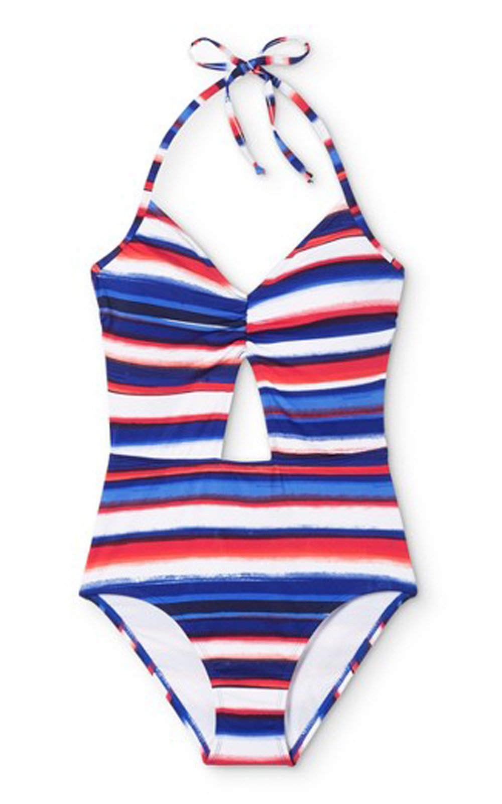 Americana Watercolor Striped Cut Out One Piece Swimsuit