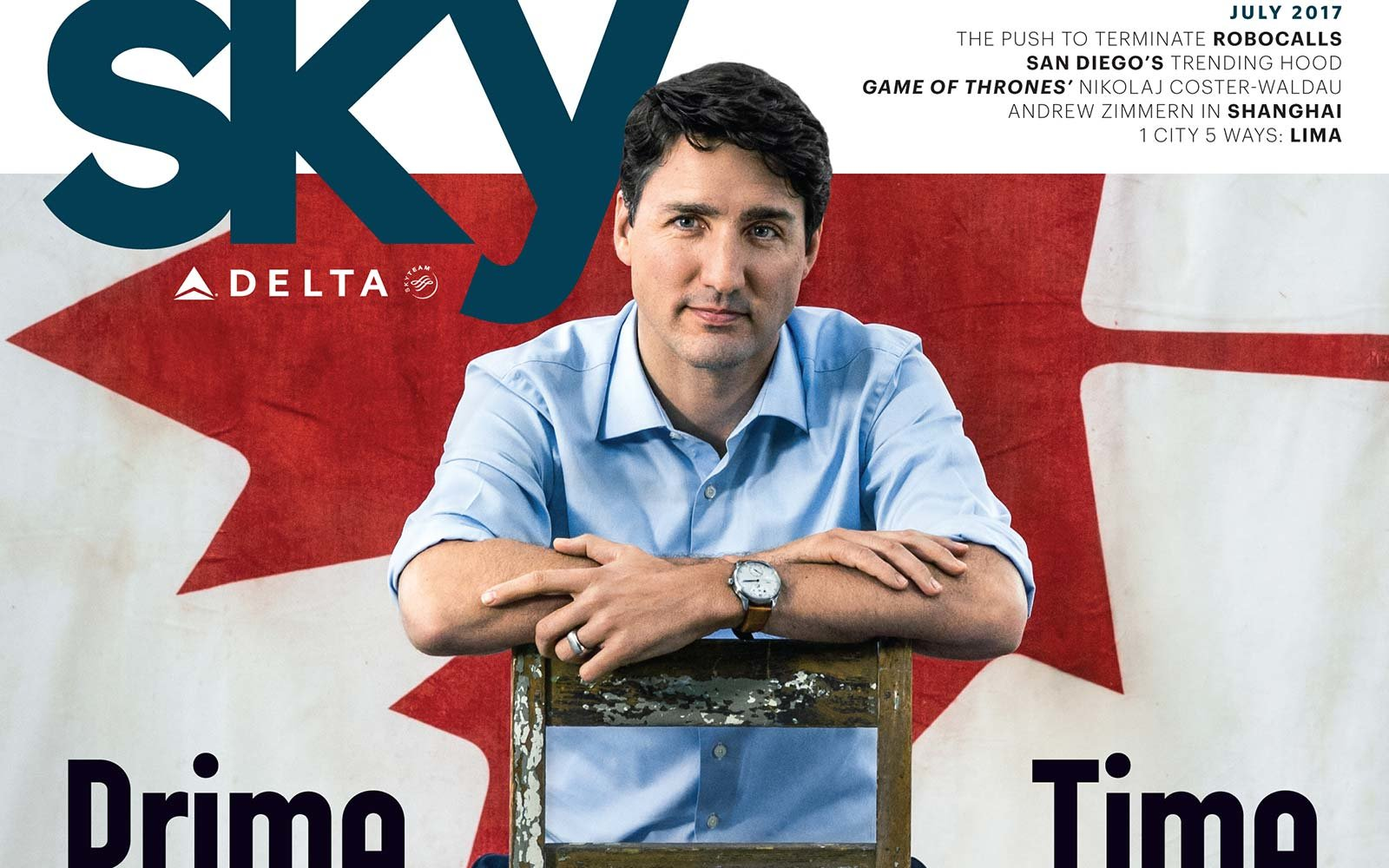 Delta SkyMag July 2017 Justin Trudeau Canada 150th Birthday Cover