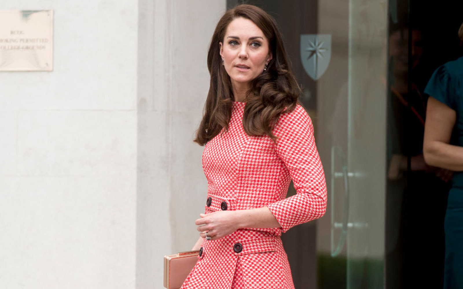 LONDON, ENGLAND - MARCH 23:  Catherine, Duchess of Cambridge leaves after attending the launch of maternal mental health films ahead of mother's day at Royal College of Obstetricians and Gynaecologists on March 23, 2017 in London, England.  The educationa