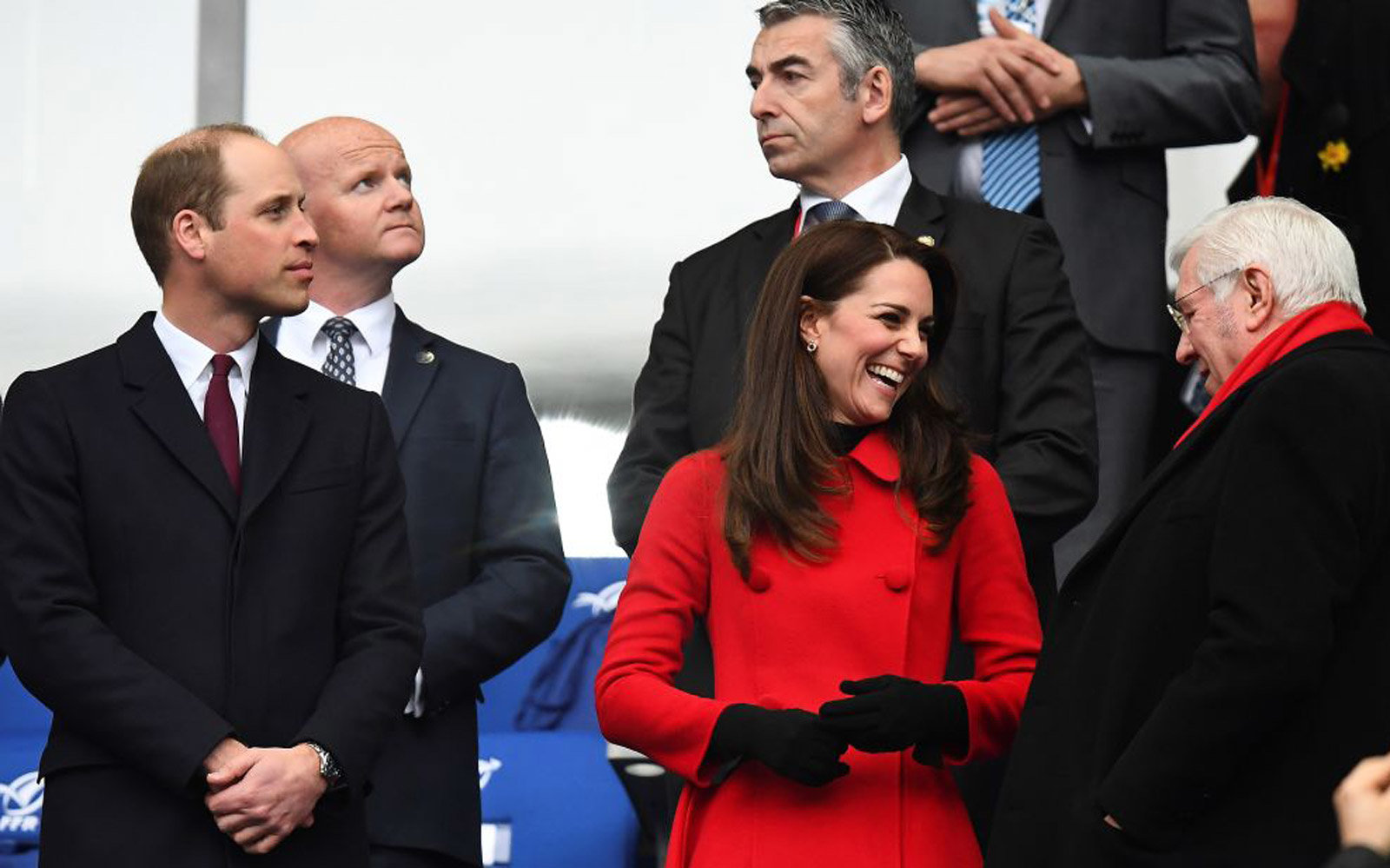 Britain's Prince William, Duke of Cambridge (L) and Britain's Catherine, Duchess of Cambridge are seen ahead of the Six Nations tournament Rugby Union match between France and Wales at the Stade de France in Saint-Denis, outside Paris, on March 18, 2017.