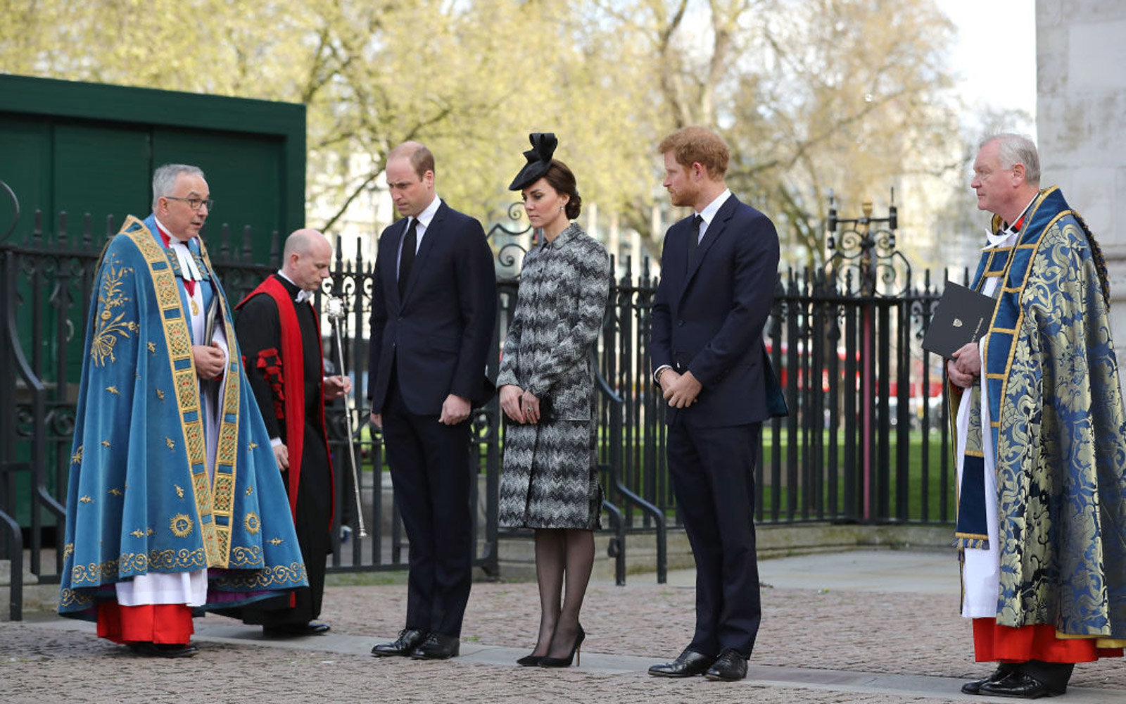 LONDON, ENGLAND - APRIL 05:  The Very Reverend Dr John Hall, Dean of Westminster (L) with Prince William, Duke of Cambridge, Catherine, Duchess of Cambridge and Prince Harry during the Service of Hope at Westminster Abbey on April 5,2017 in London, United
