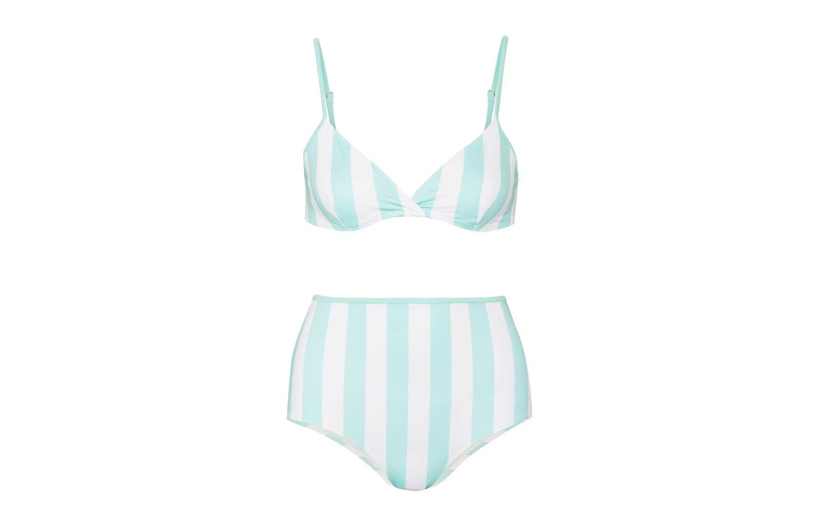 Solide and Striped High Waist Swimsuit