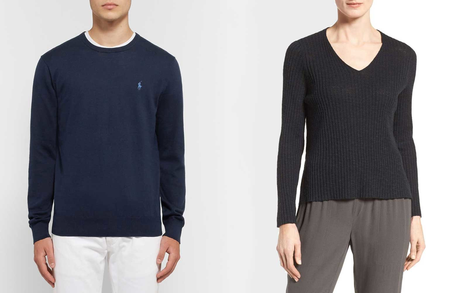 Sweaters from Polo Ralph Lauren and Eileen Fisher