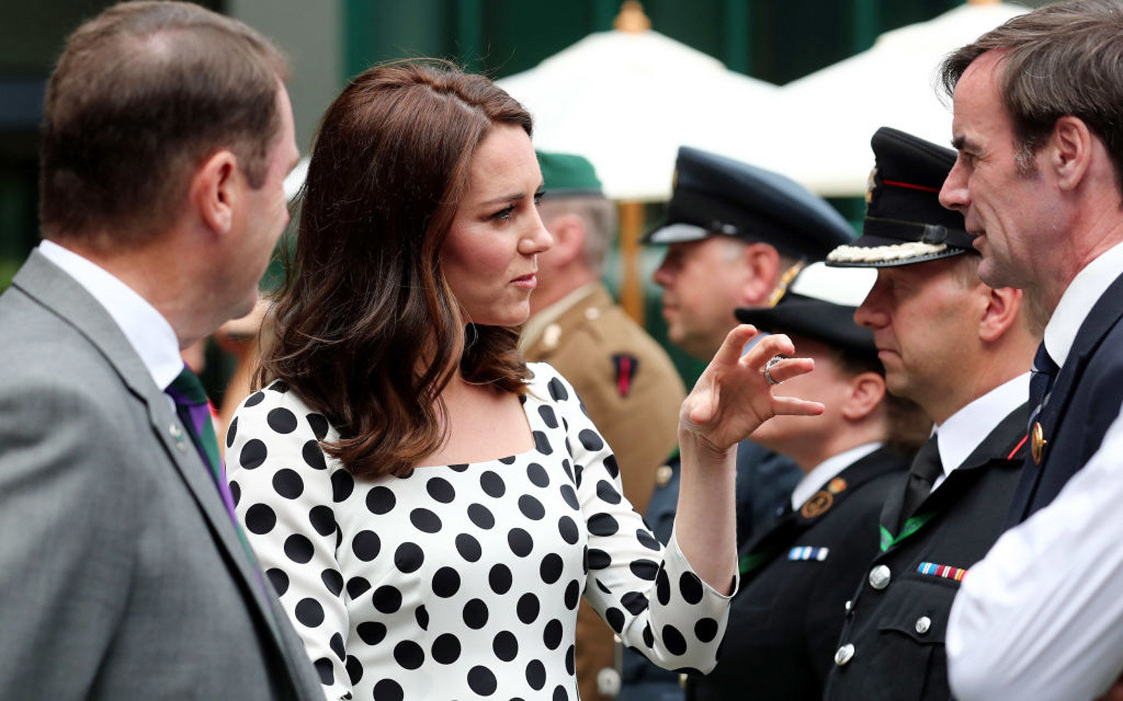LONDON, UNITED KINGDOM - JULY 3:  Catherine, Duchess of Cambridge as she meets servicemen and women on day one of the Wimbledon Championships at The All England Lawn Tennis and Croquet Club, in Wimbledon on July 3, 2017 in London, England.  (Photo by Gare