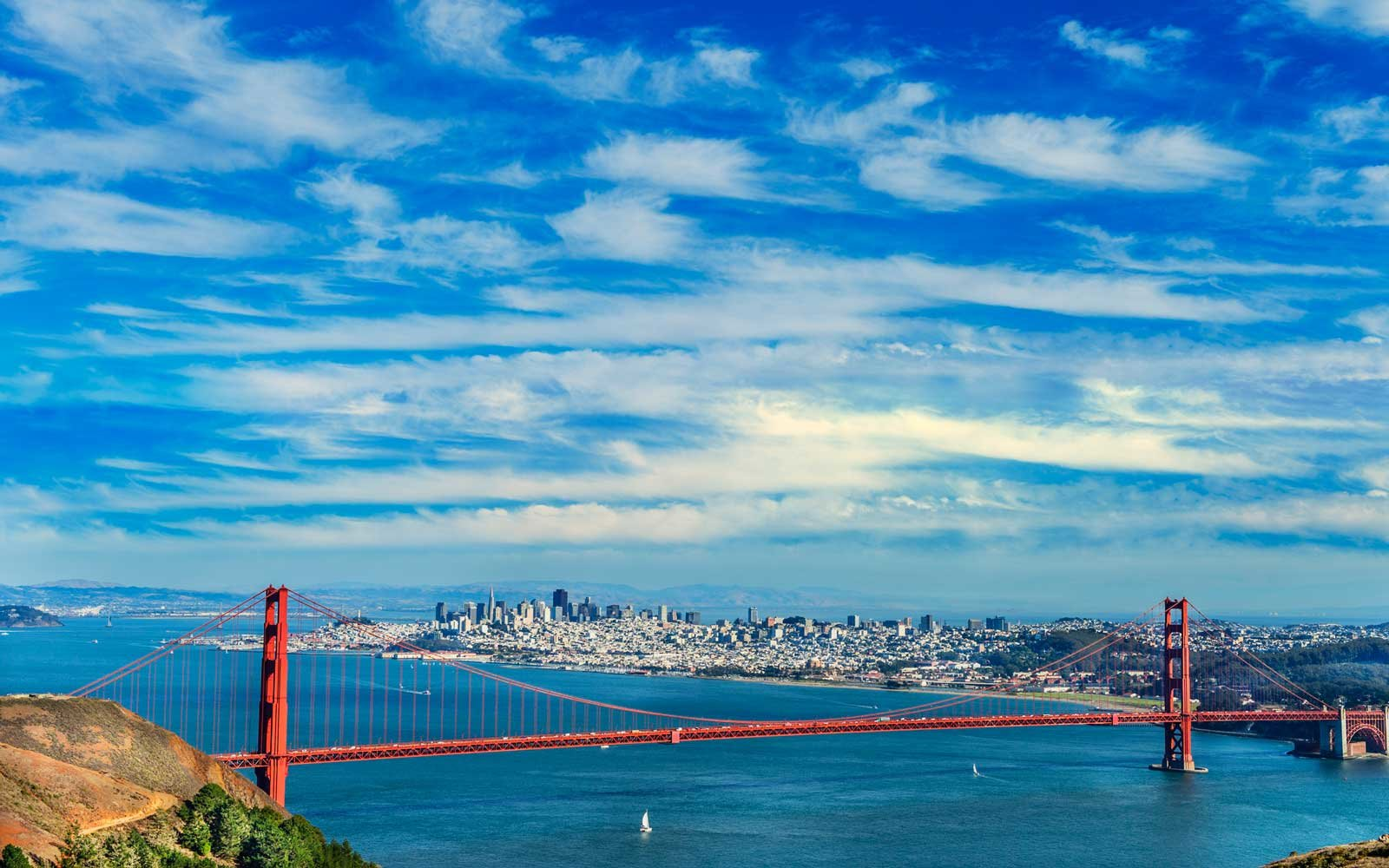 Golden Gate Bridge with San Francisco skyline in background
