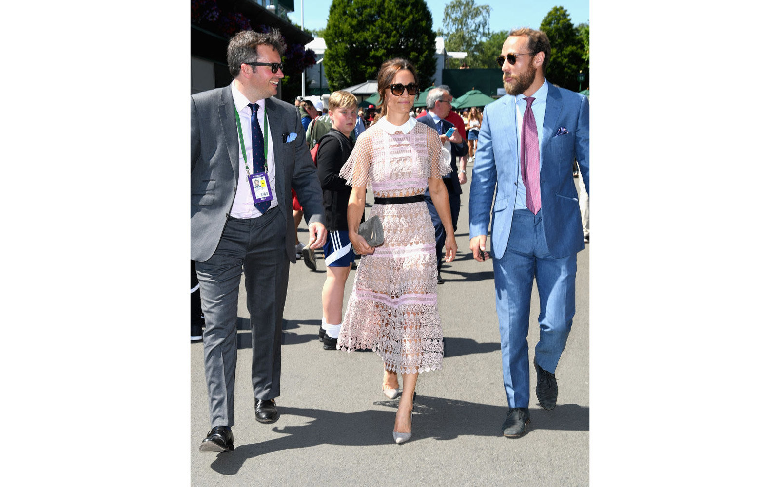 LONDON, ENGLAND - JULY 05:  Pippa Middleton with Andrew Wolfe Murray (L) attend day 3 of Wimbledon 2017 on July 5, 2017 in London, England.  (Photo by Karwai Tang/WireImage)