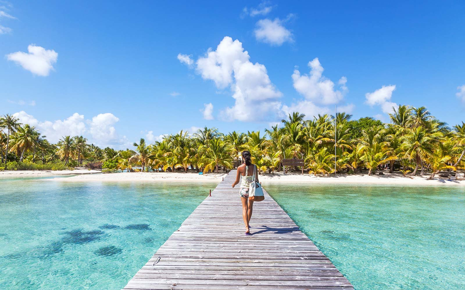 Tourist walking on jetty, Tikehau atoll, Tuamotu Archipelago, French Polynesia, Oceania Instagram Tips Captions