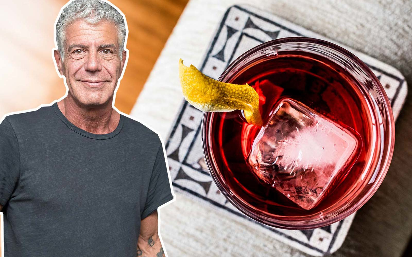 Negroni Cocktail with lemon peel and ice Anthony Bourdain