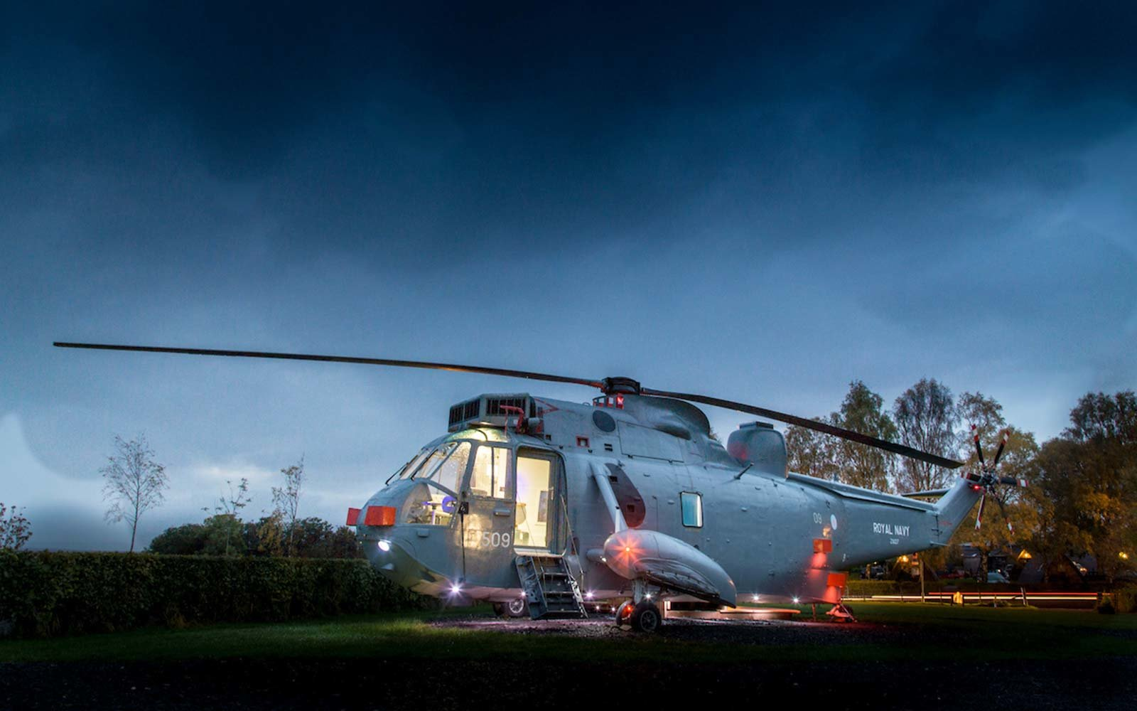 Helicopter Glamping Hotel at Mains Farm Wigwams Stirling Scotland