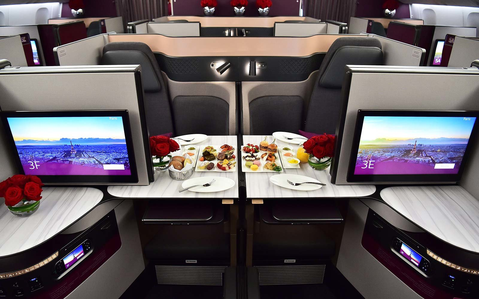 QSuite business class of a Qatar Airways Boeing 777 jet airliner on display at the International Paris Air Show in Le Bourget