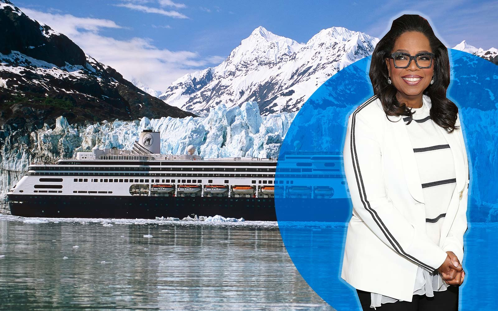 Holland America Cruiseship *Zaandam* In Front Of Margerie Glacier, Glacier Bay National Park Sea Alaska Oprah