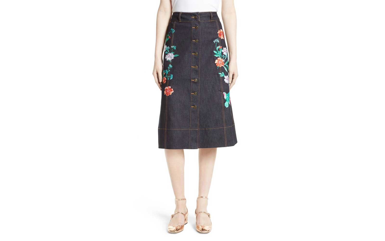 Flower Denim Skirt Kate Spade
