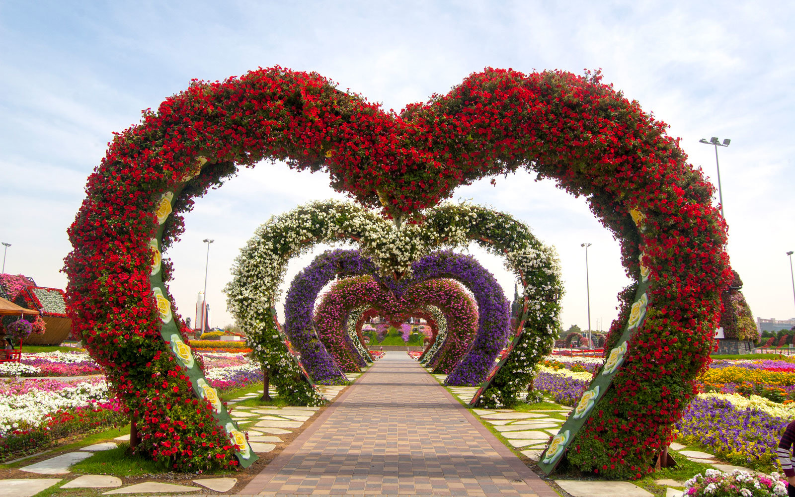 dubai miracle garden heart arches