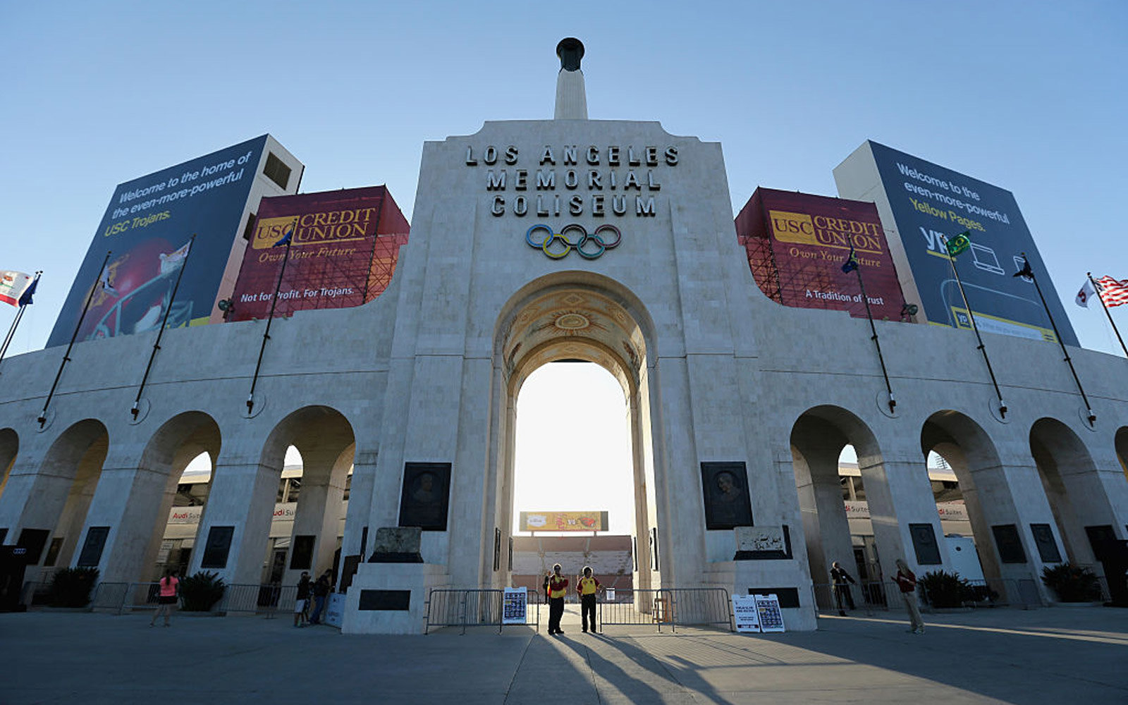 LOS ANGELES, CA - SEPTEMBER 27:  A general view of the exterior of Los Angeles Memorial Coliseum is seen prior to the start of the game between the Oregon State Beavers and the USC Trojans on September 27, 2014 in Los Angeles, California.  (Photo by Jeff