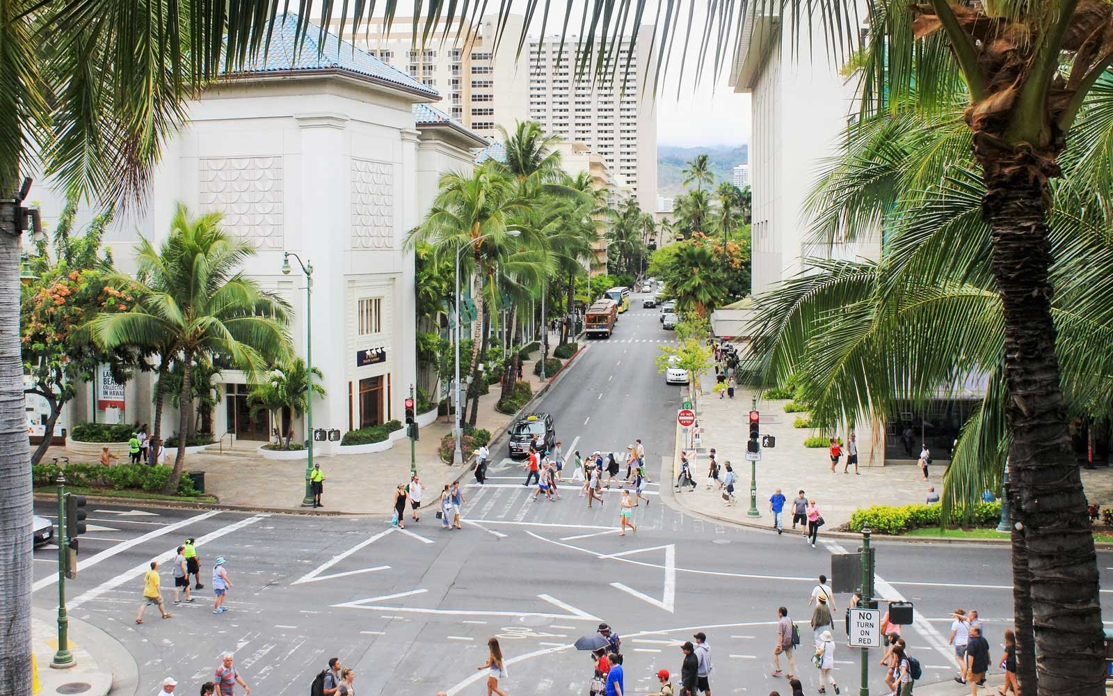 Downtown Waikiki, bustling with locals and tourists