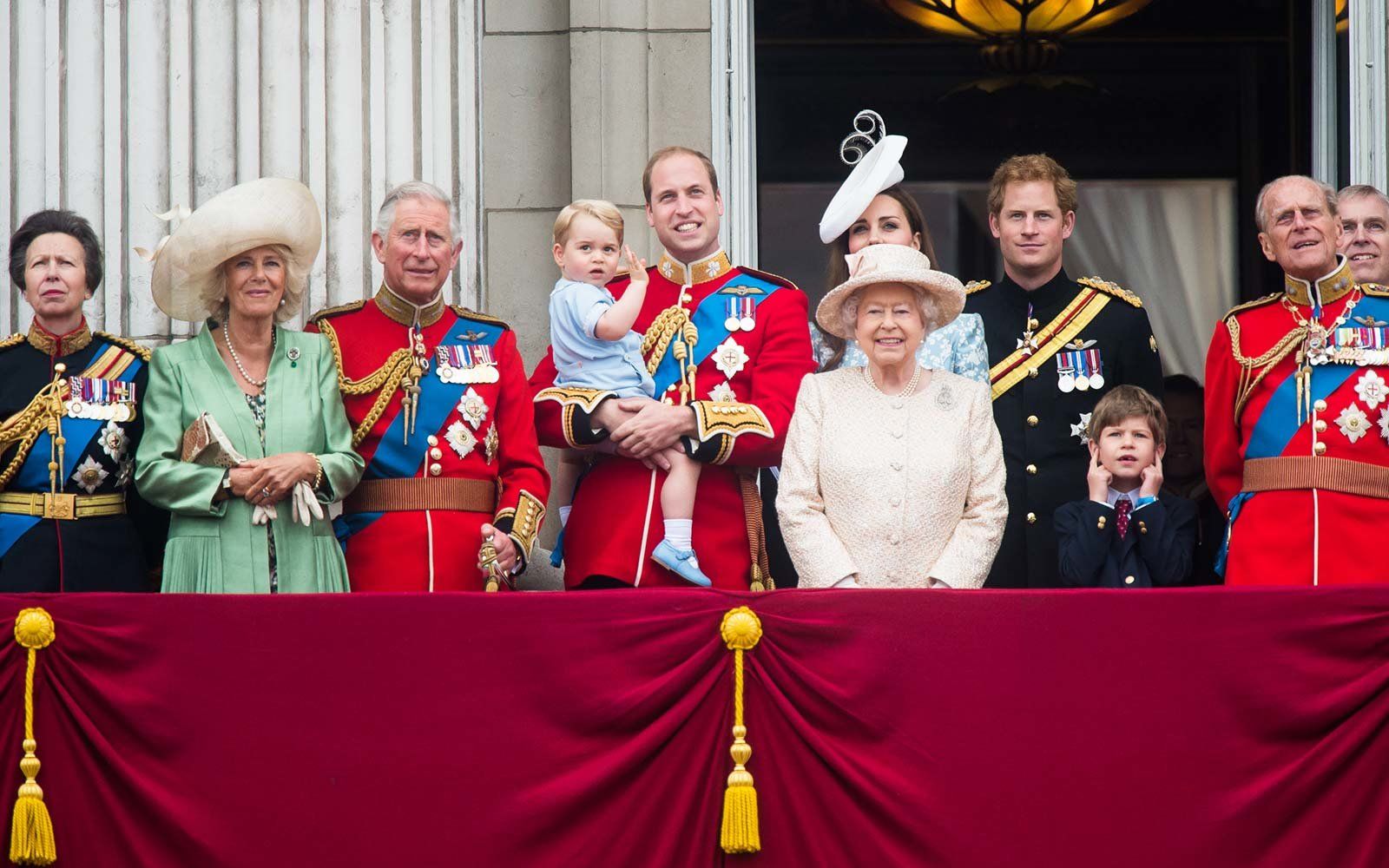 Princess Anne, Princess Royal, Camilla, Duchess of Cornwall, Prince Charles, Prince of Wales, Prince George of Cambridge, Prince William, Duke of Cambridge Catherine, Duchess of Cambridge, Queen Elizabeth II, Prince Harry