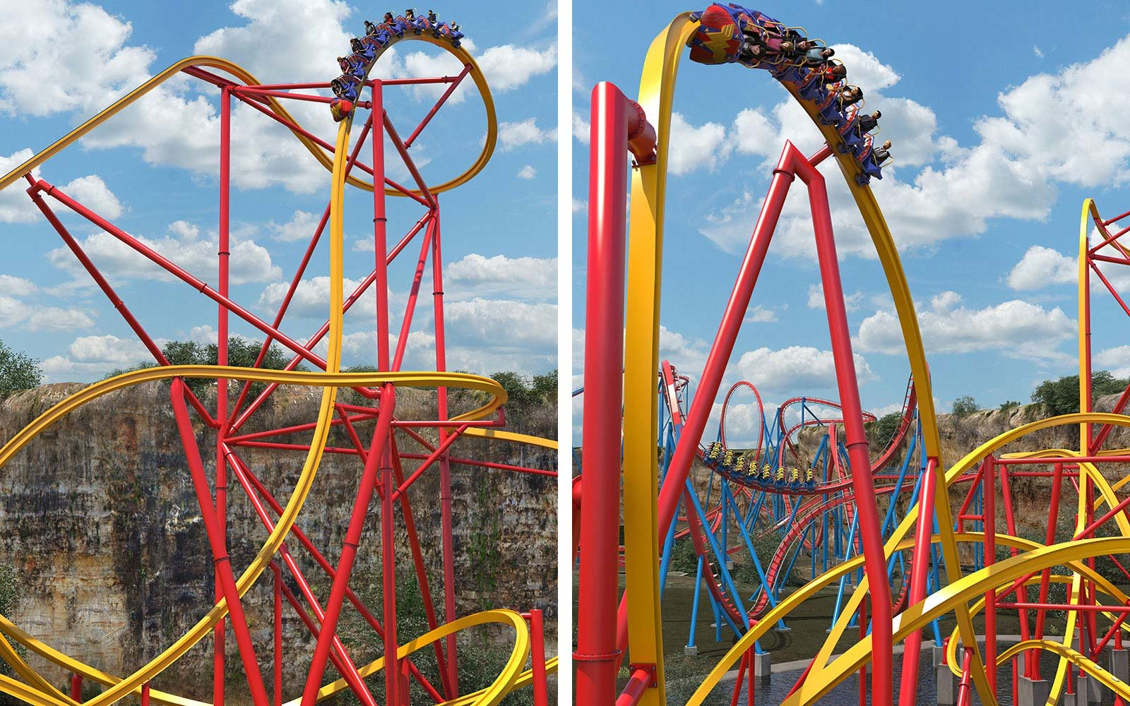 Wonder Woman Golden Lasso Roller Coaster Six Flags Fiesta Park San Antonio Texas