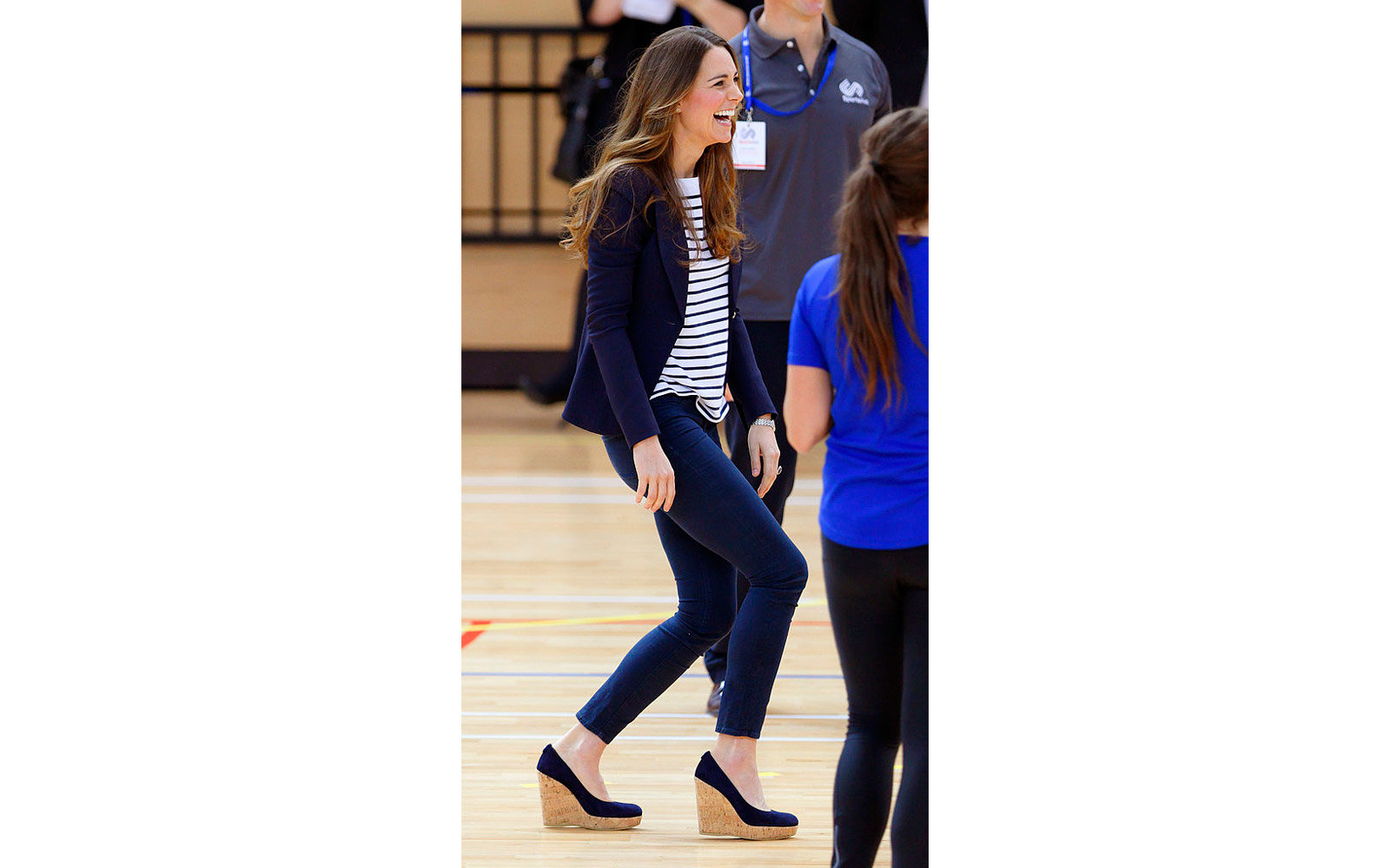 LONDON, UNITED KINGDOM - OCTOBER 18: (EMBARGOED FOR PUBLICATION IN UK NEWSPAPERS UNTIL 48 HOURS AFTER CREATE DATE AND TIME) Catherine, Duchess of Cambridge plays volleyball as she attends a SportsAid Athlete Workshop in the Copper Box Arena at the Queen E