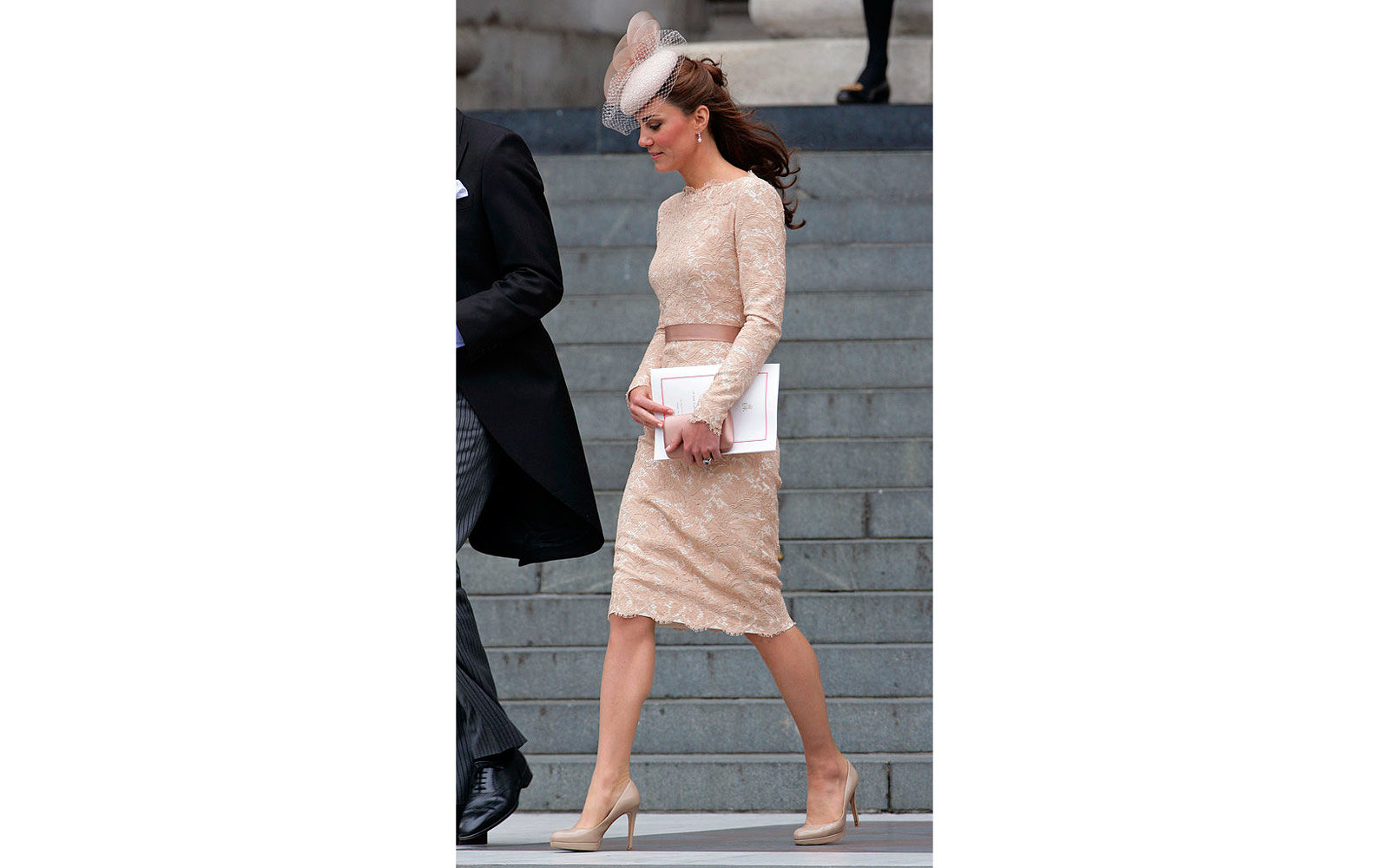 LONDON, UNITED KINGDOM - JUNE 05: (EMBARGOED FOR PUBLICATION IN UK NEWSPAPERS UNTIL 48 HOURS AFTER CREATE DATE AND TIME) Catherine, Duchess of Cambridge attends a Service of Thanksgiving to celebrate Queen Elizabeth II's Diamond Jubilee at St Paul's Cathe