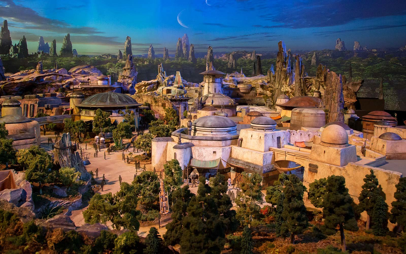 The epic, fully detailed model of the Star Wars-themed lands under development at Disneyland park in Anaheim, Calif. and Disney's Hollywood Studios in Orlando, Fla. remains on display in Walt Disney Parks