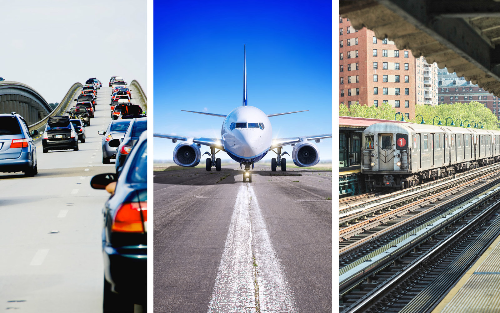 Cars on the highway, plane on the runway, subway at the station