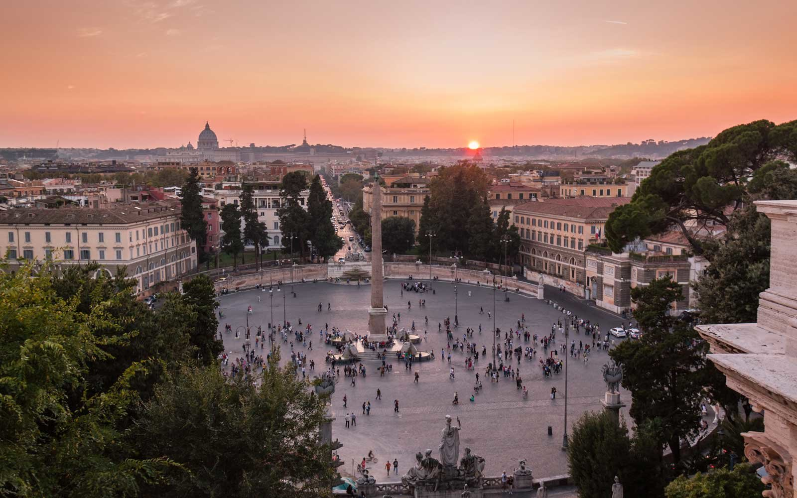 View of sunset in Rome