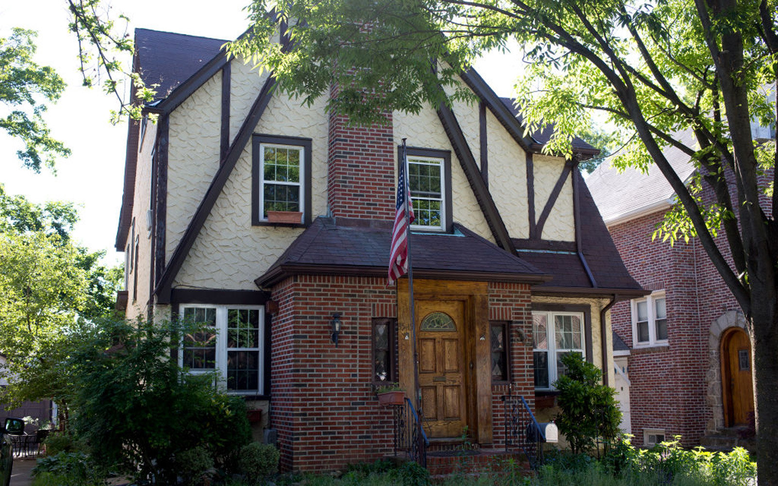 QUEENS, NY - JUNE 4: Donald Trump's early childhood home is lies unoccupied in the well kept neighborhood of Jamaica Estates on June 4, 2017 in Queens, New York. A foreign investor has purchased the home and there has been speculation that it will become