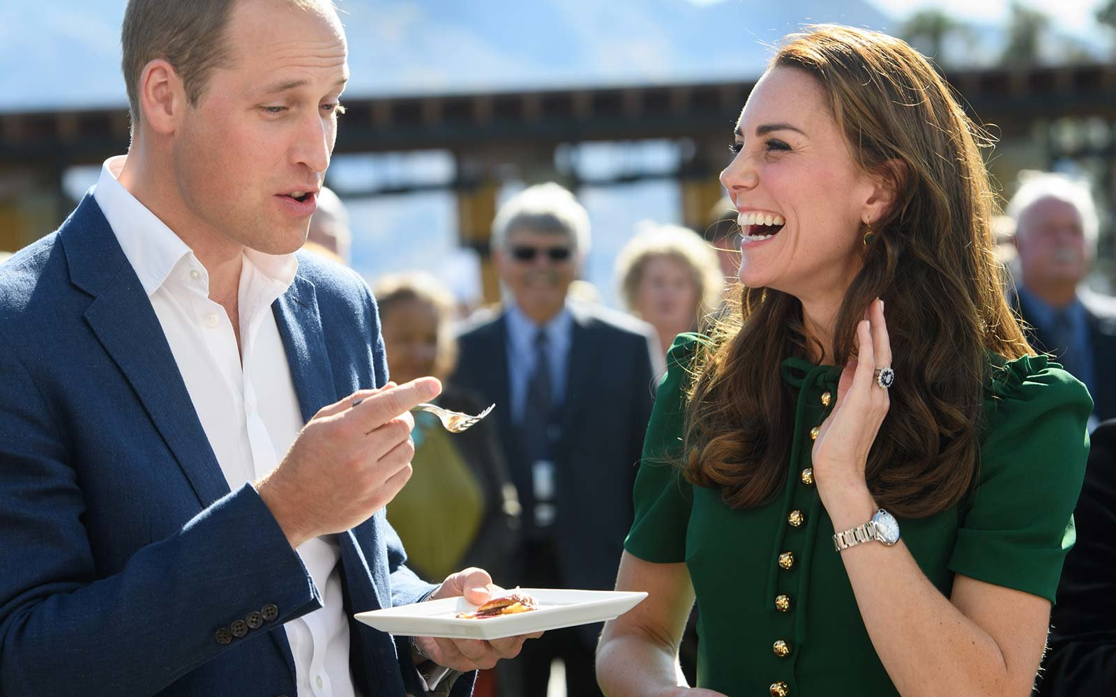 Prince William, Duke of Cambridge and Catherine, Duchess of Cambridge eat Indian food
