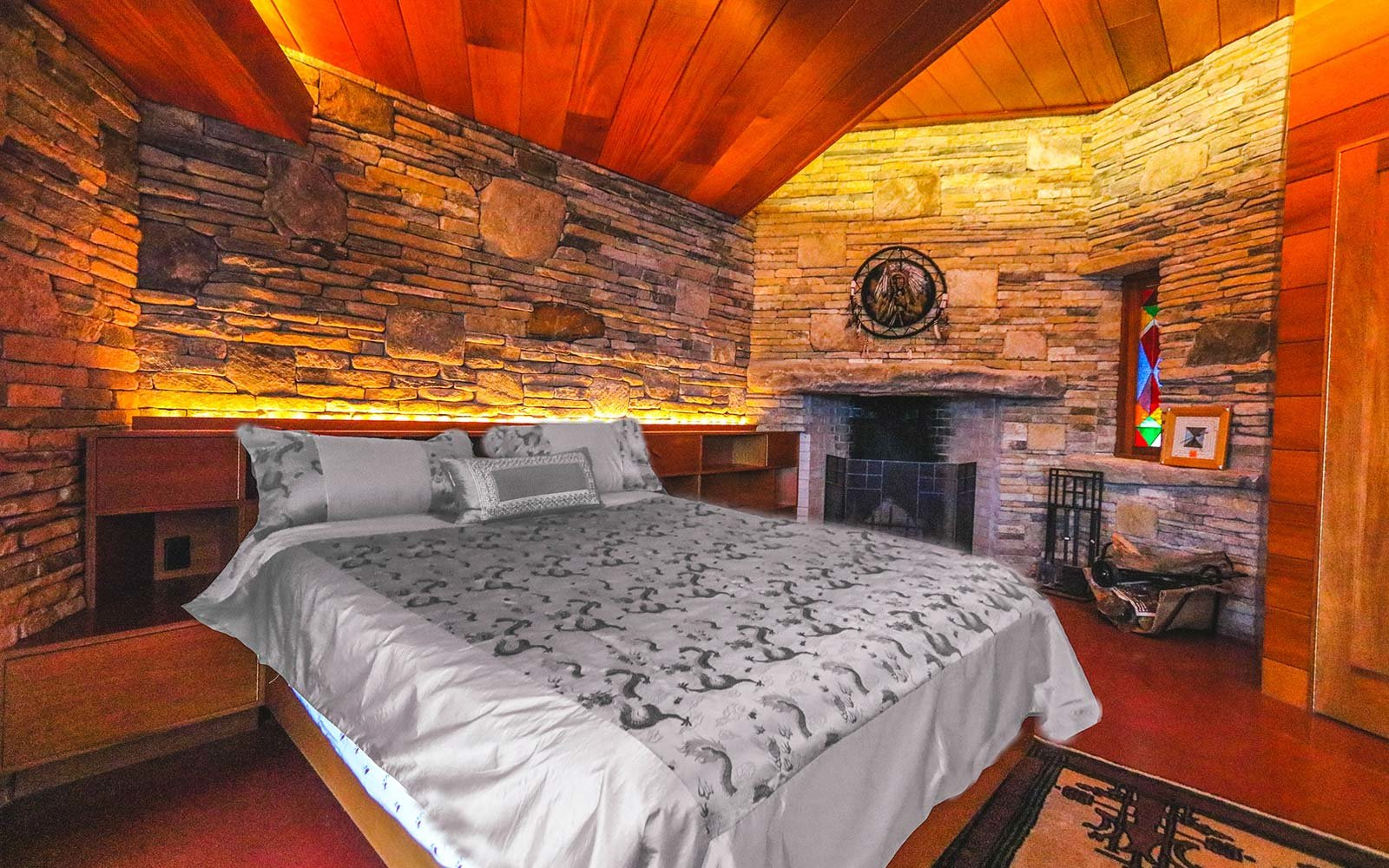 Frank Lloyd Wright Architecture Petra Island New York Massaro House Sale Main House Bedroom