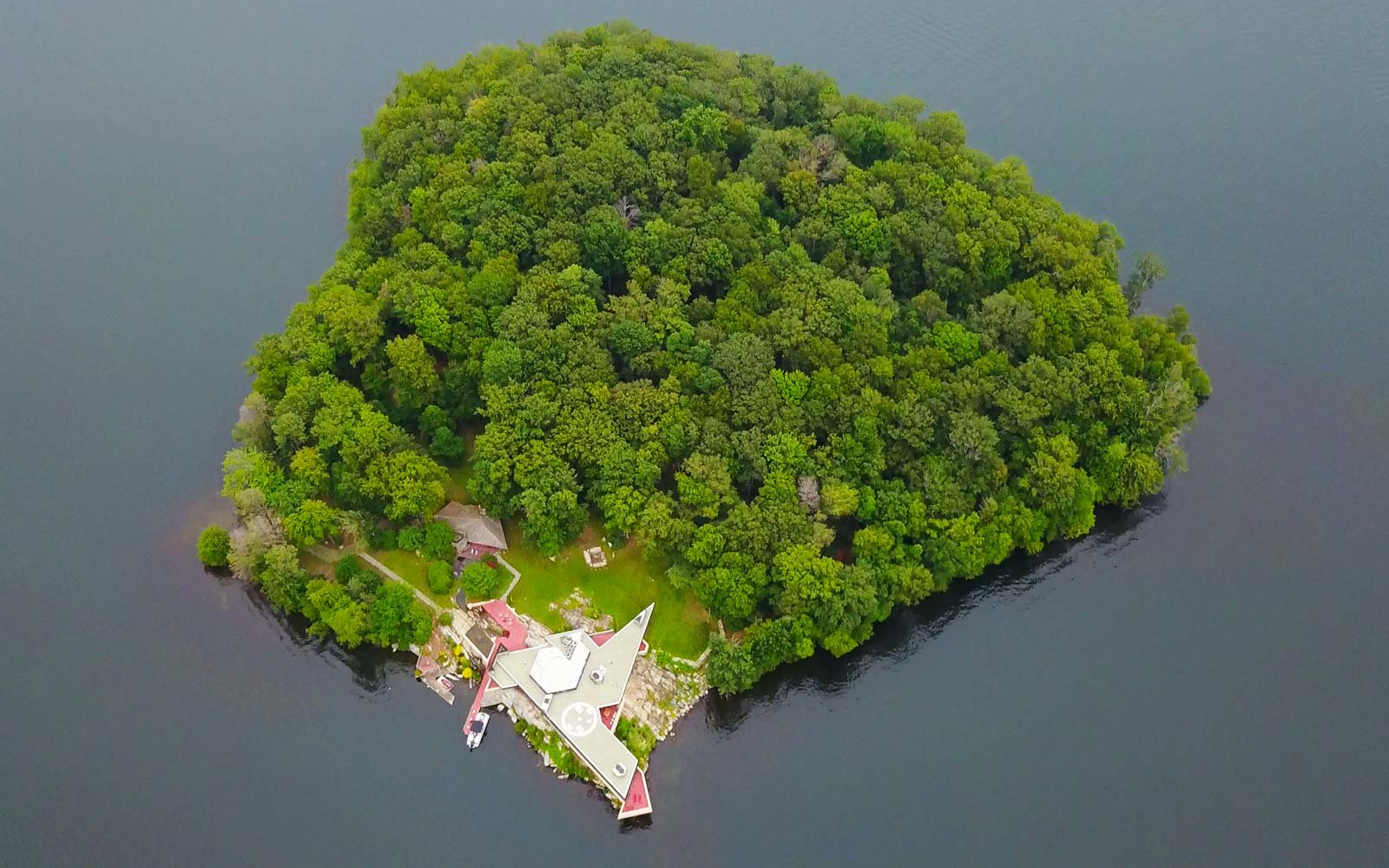 Frank Lloyd Wright Architecture Petra Island New York Massaro House Sale Main House Aerial