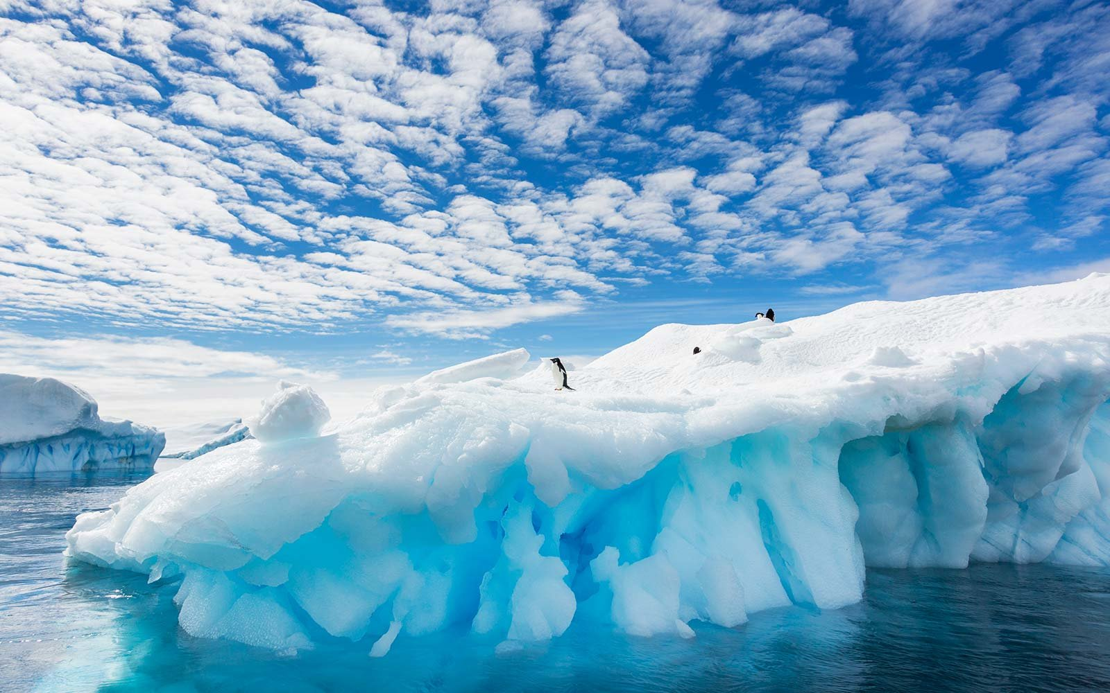 Cloud patterns over an iceberg in Antarctica penguins