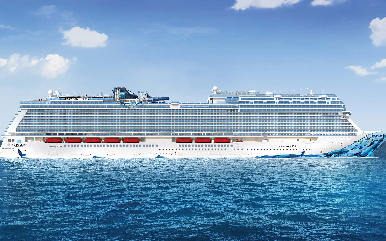 Norwegian Cruise Line Bliss Ship At Sea