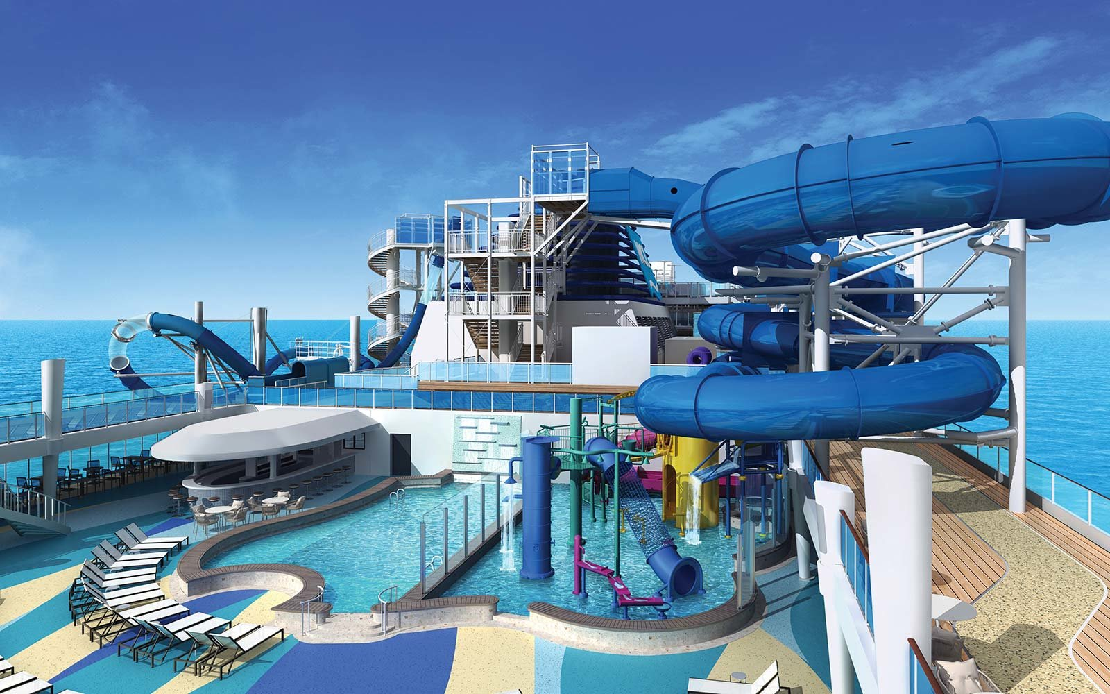 Norwegian Cruise Line Bliss Ship Pool Deck Aqua Park