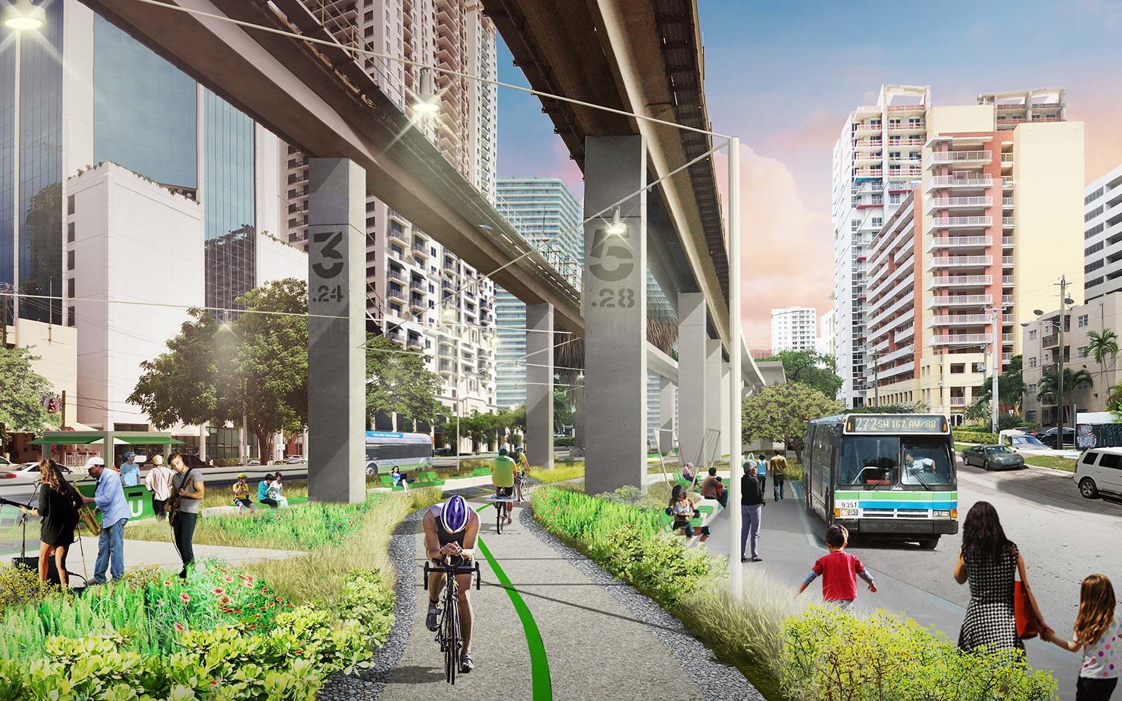 The Underline Urban Redevelopment Project James Corner Field Operations Brickell Park Miami Florida Cyclovia