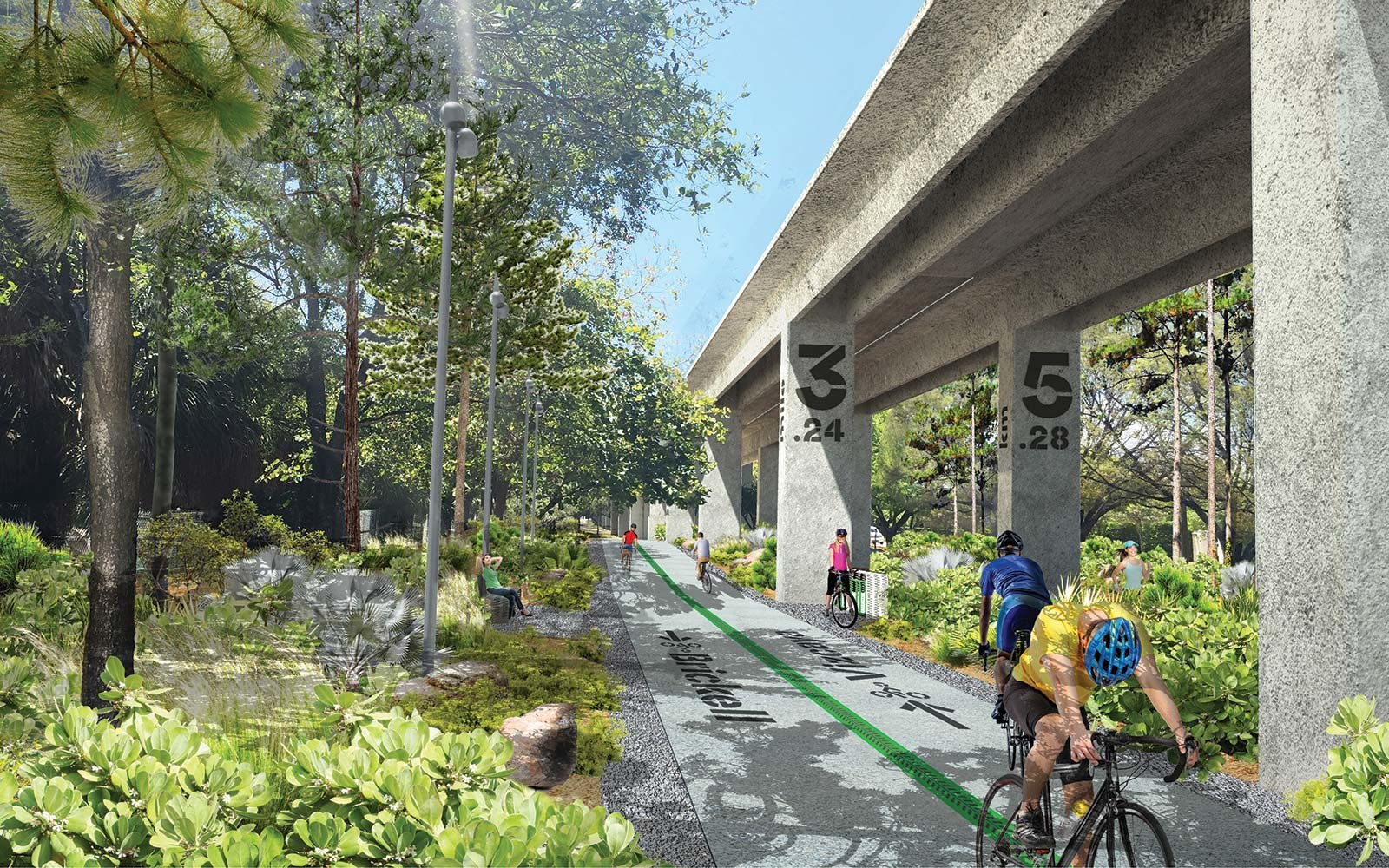 The Underline Urban Redevelopment Project James Corner Field Operations Brickell Park Miami Florida Bike Paths