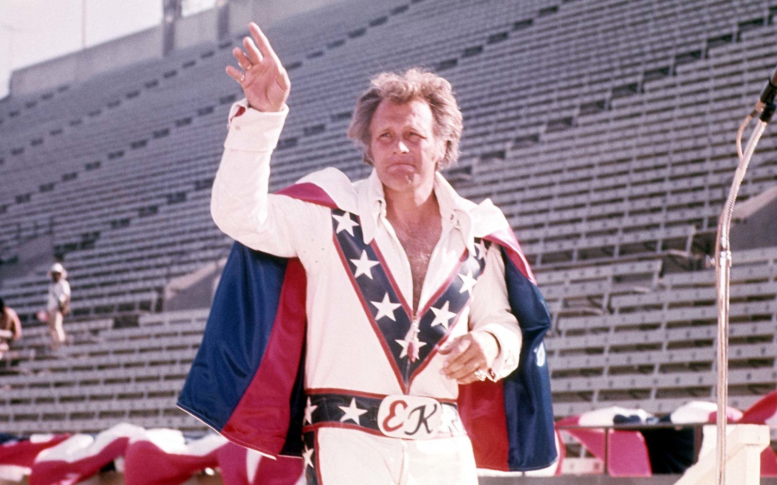 American daredevil and entertainer Evel Knievel poses for a portrait before a stunt in circa 1976