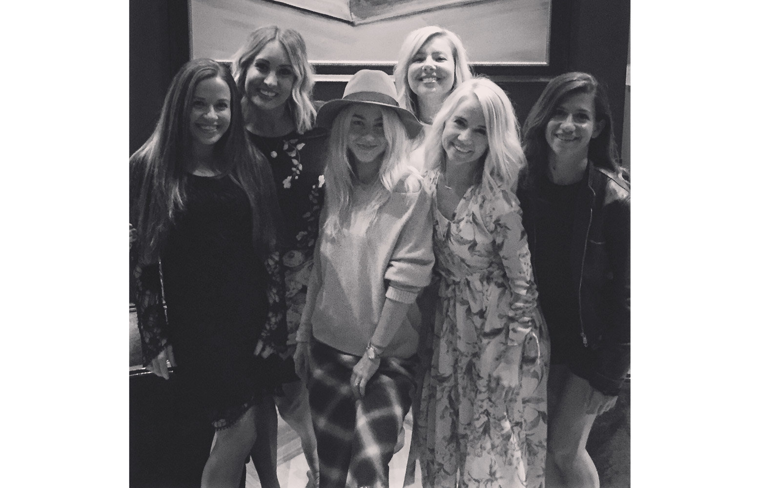 Julianne Hough with her friends -- B&W photo