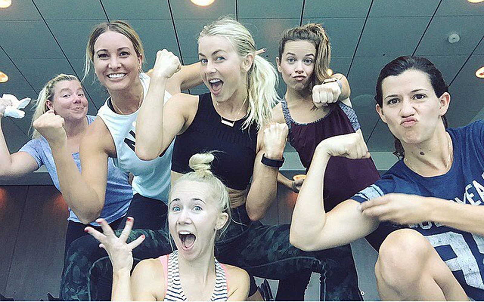 Julianne Hough working out with her friends