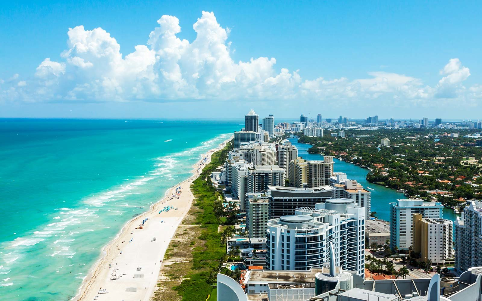 Looking down South Beach in Miami Florida