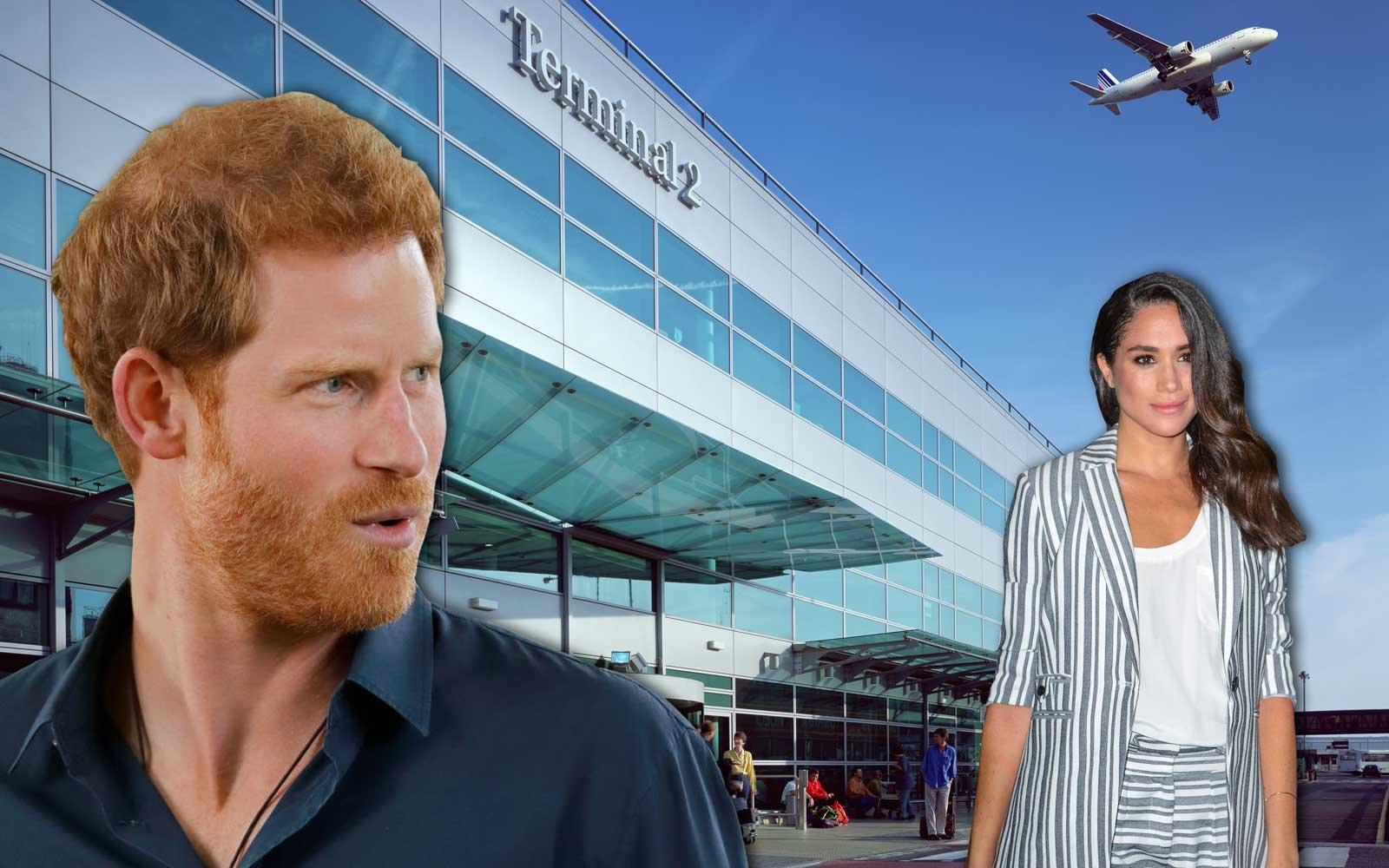 Illustration of Prince Harry and Meghan Markle at Heathrow Airport London