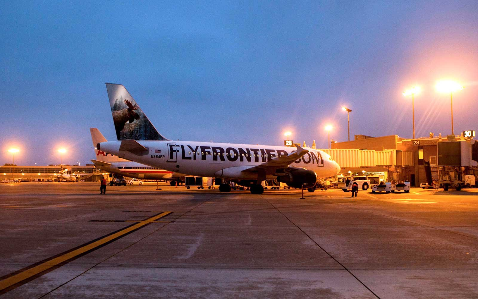 Frontier Airlines Plane at the Airport