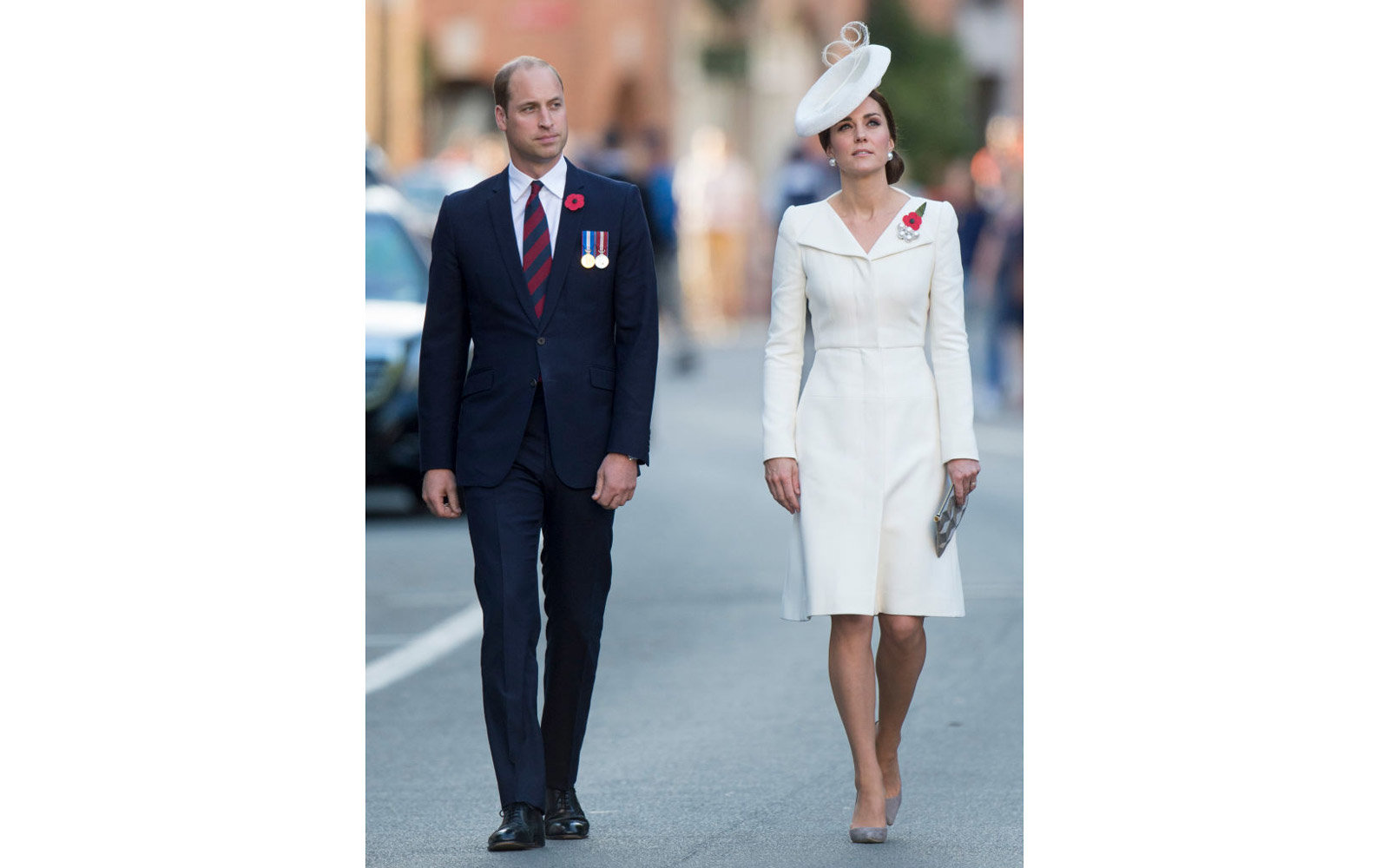YPRES, BELGIUM - JULY 30:  Catherine, Duchess of Cambridge and Prince William, Duke of Cambridge attend the Last Post ceremony at the Commonwealth War Graves Commission Ypres (Menin Gate) Memorial on July 30, 2017 in Ypres, Belgium.  The commemorations ma