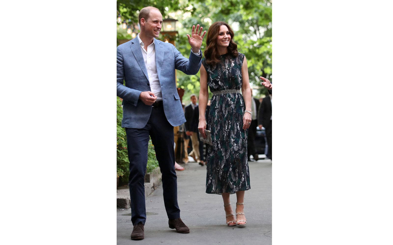 HEIDELBERG, GERMANY - JULY 20:  Prince William, Duke of Cambridge and Catherine, Duchess of Cambridge arrive at the last original dancehall in Berlin, the Cl‰rchens Ballhaus, to attend a reception on day 2 of their official visit to Germany on July 20,
