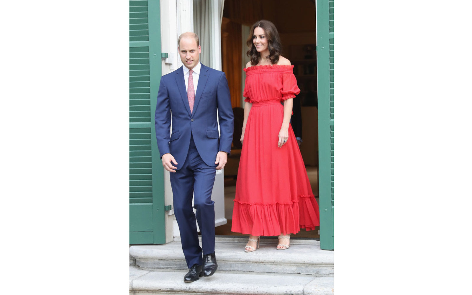 BERLIN, GERMANY - JULY 19:  Prince William, Duke of Cambridge and Catherine, Duchess of Cambridge attend The Queen's Birthday Party at the British Ambassadorial Residence during an official visit to Poland and Germany on July 19, 2017 in Berlin, Germany.