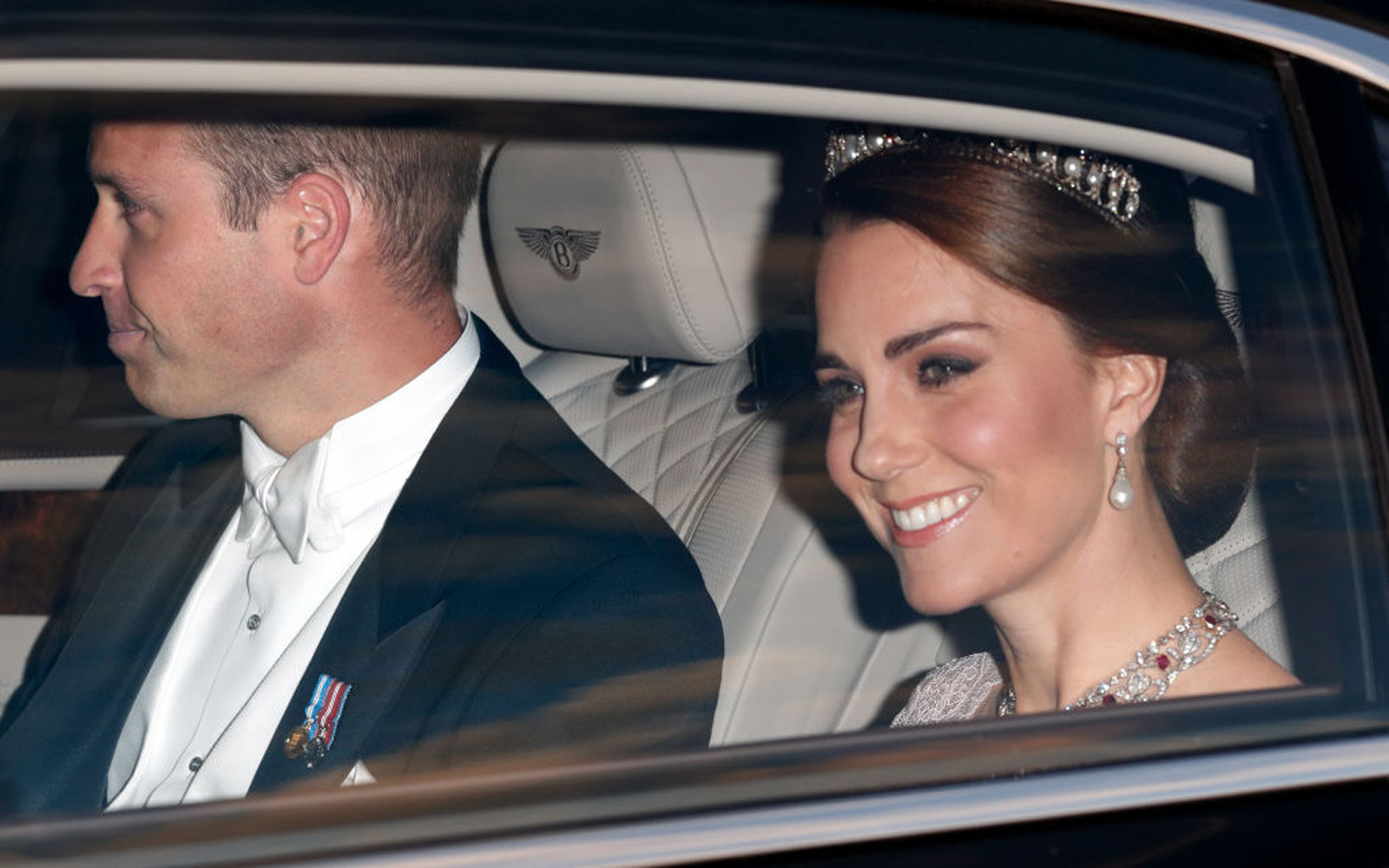 LONDON, UNITED KINGDOM - JULY 12: (EMBARGOED FOR PUBLICATION IN UK NEWSPAPERS UNTIL 48 HOURS AFTER CREATE DATE AND TIME) Prince William, Duke of Cambridge and Catherine, Duchess of Cambridge attend a State Banquet at Buckingham Palace on day 1 of the Span