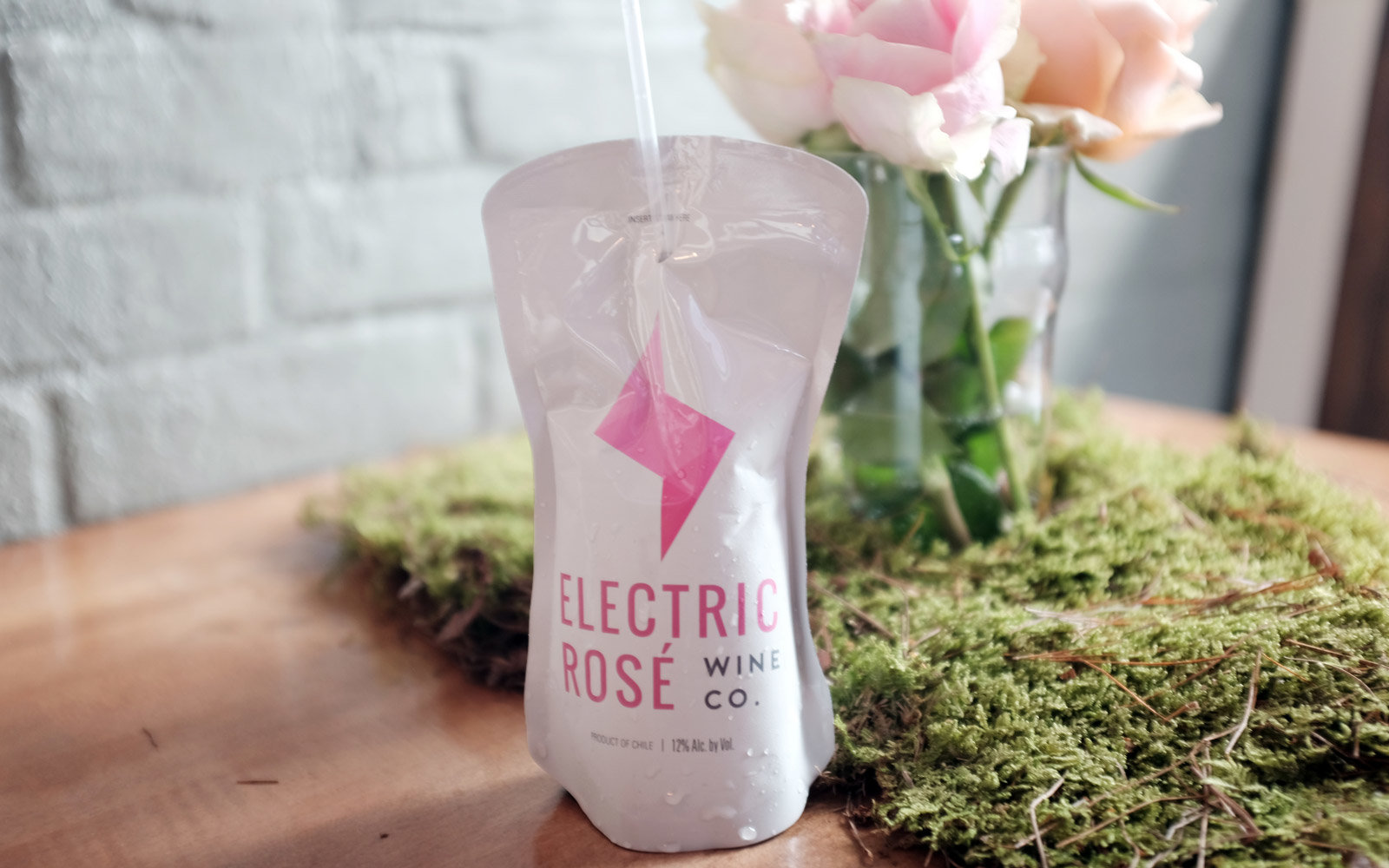 Rose wine in a pouch