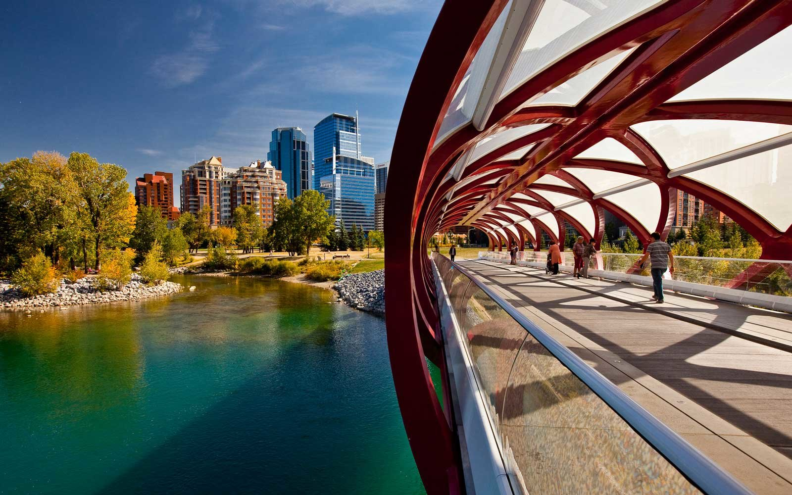 Calgary Peace Bridge and downtown highrise buildings, Calgary, Alberta, Canada.